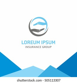 Insurance logo, Safety hand insurance, logo vector template