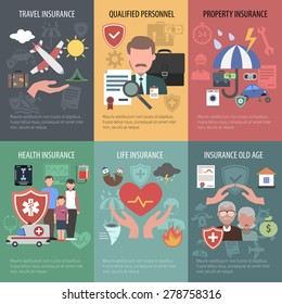 Insurance mini poster set with travel property old people health protection isolated vector illustration