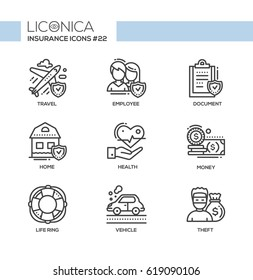 Insurance - monochromatic vector modern single line icons set. Plane, travelling, male, female employee, document, check mark, home, health, hand, money, life ring, vehicle, thief.