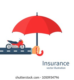 Insurance motorcycle. Vector illustration flat design. Isolated on white background. Hand insurer with an umbrella that protects motorbike. Safety concept moto.