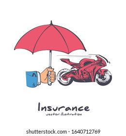 Insurance motorcycle. Vector illustration sketch design. Isolated on white background. Hand insurer with an umbrella that protects motorbike. Safety concept moto.