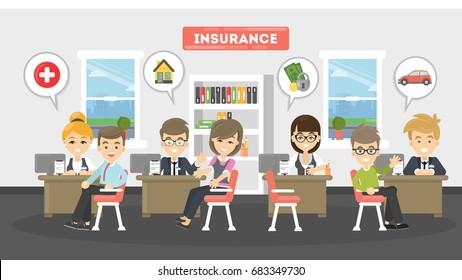 Insurance office illustration.