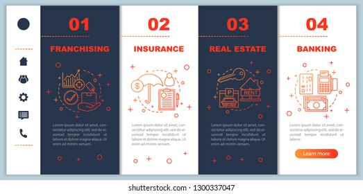Insurance onboarding mobile app page screen vector template. Investment. Finances. Banking, franchising walkthrough website steps with linear illustrations. UX, UI, GUI smartphone interface concept