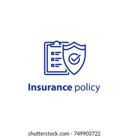 Insurance policy concept, check board and shield, data security, fraud analysis, vector line icon