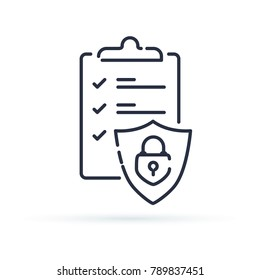 Insurance policy concept, check board and shield, data security, fraud analysis, vector line icon. Secured documents icon for web. Outline one line minimalistic symbol