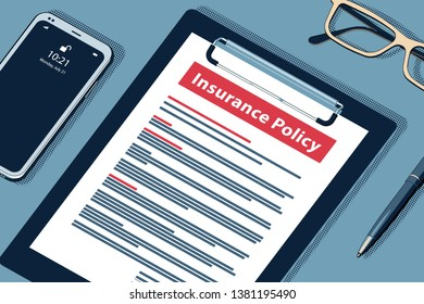 Insurance Policy Concept with Clipboard, Modern Smartphone, Ball Pen and Glasses. Flat Lay, Top View. Vector Halftone Isometric Illustration.