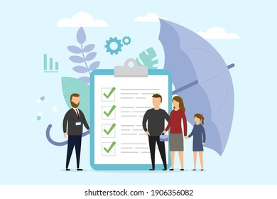 Insurance Policy Concept Illustration In Flat Cartoon Style. Vector Composition On Blue Background. Parents With Child Standing Near Big Document With Check Marks Talking To Manager. Life Protection