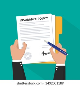Insurance policy contract in hand flat icon