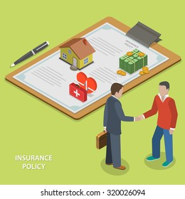Insurance policy deal flat isometric vector concept. Insurance agent makes deal with client and shakes his hand.