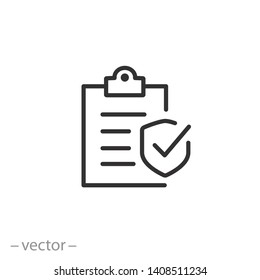 Insurance policy icon, line symbol on white background - editable stroke vector illustration eps10