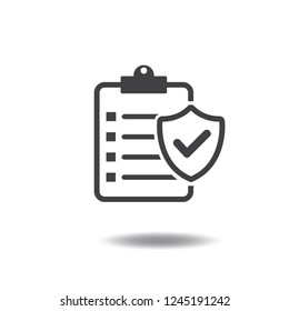 Insurance policy icon vector with check mark,correct,shield guard and clipboard black color flat sign symbols logo illustration isolated on white background.Concepts objects for business and hospital.