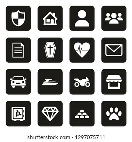 Insurance Policy Icons White On Black