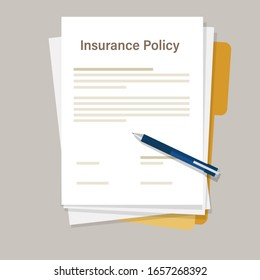 insurance policy paperwork agreement with pen for signature