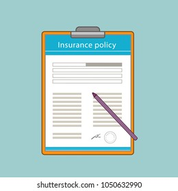 Insurance policy with the pen in flat style.