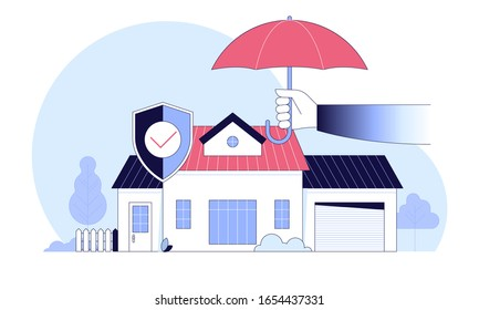 Insurance policy services. Security concept of property, home, car, family, money. Vector illustration flat design. Can use for landing page, template, ui, web, mobile app, poster, banner, flyer