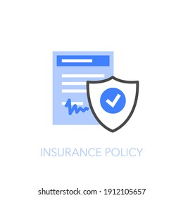 Insurance policy symbol with a signed document and a protective shield. Easy to use for your website or presentation.
