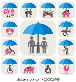 Insurance protection concept icons. All Insurance and umbrella symbols. Vector illustration.