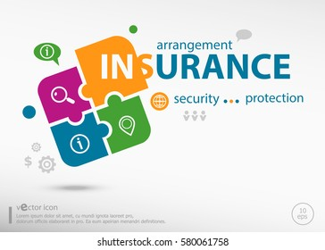 Insurance protection info word cloud on colorful jigsaw puzzle. Infographic business for graphic or web design layout