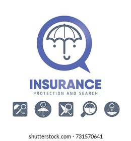 Insurance, protection, search. Magnifier and umbrella. Creative logo and icons