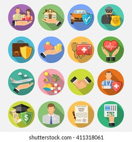 Insurance Round Flat Icons Set with Long Shadow for Poster, Web Site, Advertising like House, Car, Medical and Business. Vector illustration