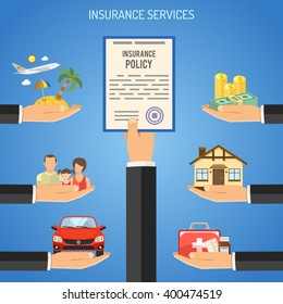 Insurance Services Concept with Flat Icons for Poster, Web Site, Advertising like House, car, life, travel. Vector illustration