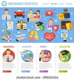 Insurance Services Concept in Flat style icons such as House, Car, Medical, Family and Business. Vector for Web Site, Advertising.