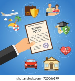 Insurance Services Concept with hand hold insurance policy and flat icons House, Education, Money and Family. Vector illustration