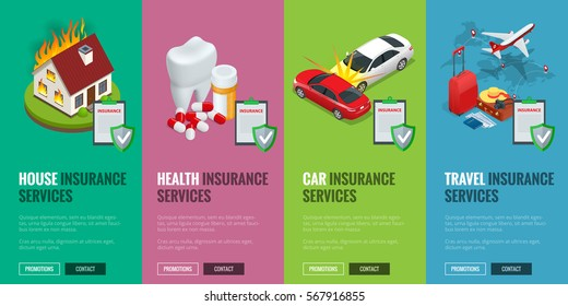 Insurance Services concept - House, Car, Health and Travel insurance services. illustration. Protection from danger, providing security. Vector isometric illustration. Web banners for website