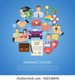 Insurance Services Concept Set Icons for Poster, Web Site, Advertising like House icon, Car insurance icon, Medical insurance icon, Family insurance Icon.
