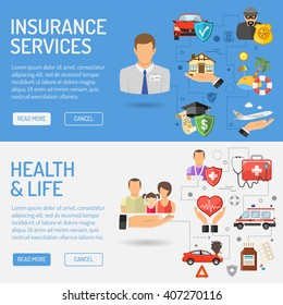 Insurance Services Horizontal Banners for Poster, Web Site, Advertising like House, Car, Medical and Travel Flat Icons.