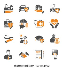 Insurance services two color icon Set such as House, Car, Medical and Business isolated vector illustration