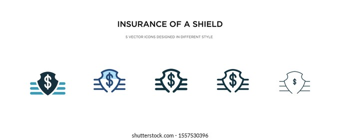 insurance of a shield with dollar icon in different style vector illustration. two colored and black insurance of a shield with dollar vector icons designed in filled, outline, line and stroke style