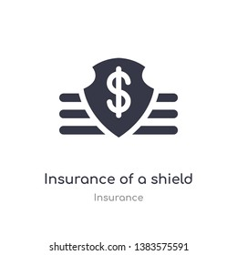 insurance of a shield with dollar icon. isolated insurance of a shield with dollar icon vector illustration from insurance collection. editable sing symbol can be use for web site and mobile app