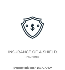 Insurance of a shield with dollar sign icon. Thin linear insurance of a shield with dollar sign outline icon isolated on white background from insurance collection. Line vector sign, symbol for web