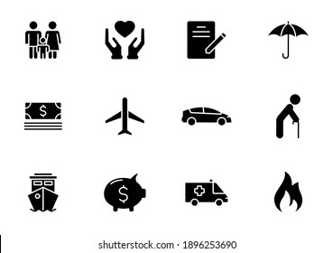 Insurance silhouette vector icons isolated on white. Insurance icon set for web, mobile apps, ui design and print