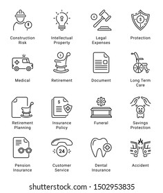 Insurance Thin Line Icons, Editable Stroke