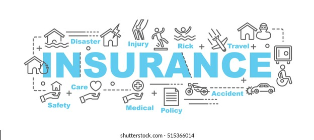 insurance vector banner design concept, flat style with thin line art.