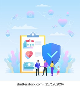 Insurance vector concept with icons. Family with agent. Shield and insurance policy