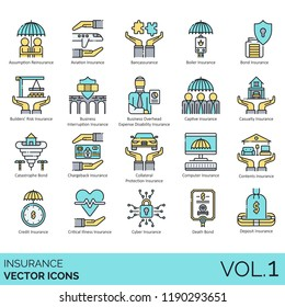Insurance vector icons. Assumption reinsurance, aviation, bancassurance, boiler, bond, builders risk, business interruption, disability, captive, casualty, catastrophe, credit, critical illness, death
