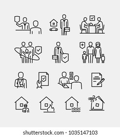 Insurance Vector Line Icons