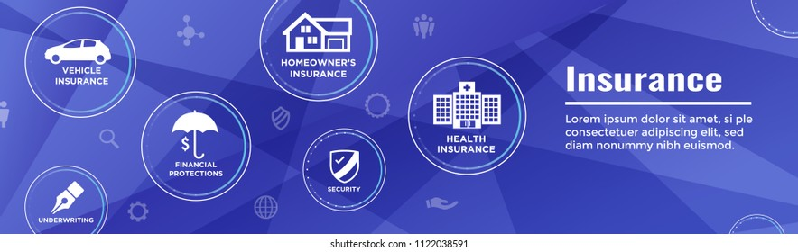 Insurance Web Header Banner - Covers homeowners, medical, life, & vehicle insurance