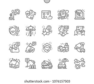 Insurance Well-crafted Pixel Perfect Vector Thin Line Icons 30 2x Grid for Web Graphics and Apps. Simple Minimal Pictogram