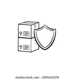 Insured cardboard boxes beyond the shield sign hand drawn outline doodle icon. Cargo insurance iconcept vector sketch illustration for print, web, mobile and infographics isolated on white background.