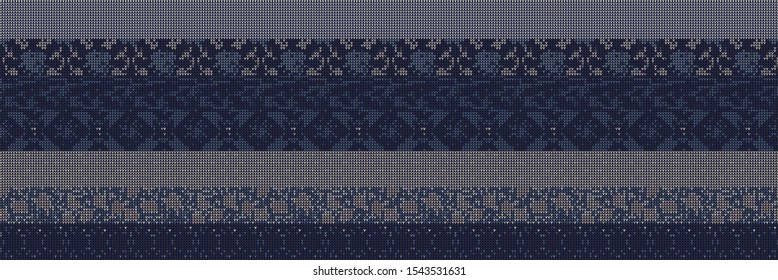 Intarsia Knit Stripe Variegated Border Background. Winter Nordic Seamless Pattern. Indigo Purple Heather Blended Texture Trim. Intricate Patchwork Effect Textile Melange Banner Ribbon. Vector Eps 10