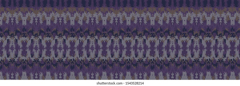 Intarsia Knitted Marl Variegated Background. Winter Nordic Style Seamless Pattern. Indigo Purple Heather Blended Texture. For Intricate Tie Dye Effect Textile, Melange All Over Print. Vector Eps 10