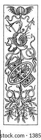 Intarsia Oblong Panel was designed in 1495, vintage line drawing or engraving illustration.
