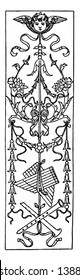 Intarsia Oblong Panel is a wood inlay design found in Bologna, vintage line drawing or engraving illustration.
