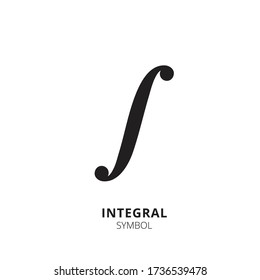 Integral symbol. Integral icon isolated on white background. Math sign, vector icon. Mathematic symbol, vector illustration, simple element.