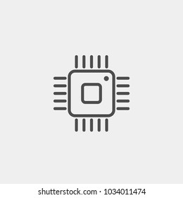 Integrated circuit fla vector icon. Microprocessor flat vector icon