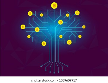 Integrated circuit tree with bitcoin coins as fruits on branches on dark blue background. Cryptocurrency mining and blockchain concept.